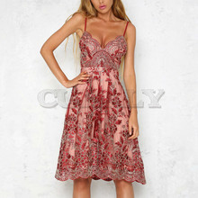 Cuerly V neck embroidery lace party brand dress women Sexy floral formal strap white vestidos Elegant knee length dresses