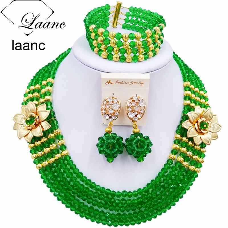 Laanc אופנה נשים ירוק סט תכשיטים אפריקאי סטי תכשיטי כלה חתונת שרשרת חרוזים 5XSH015 ניגרית