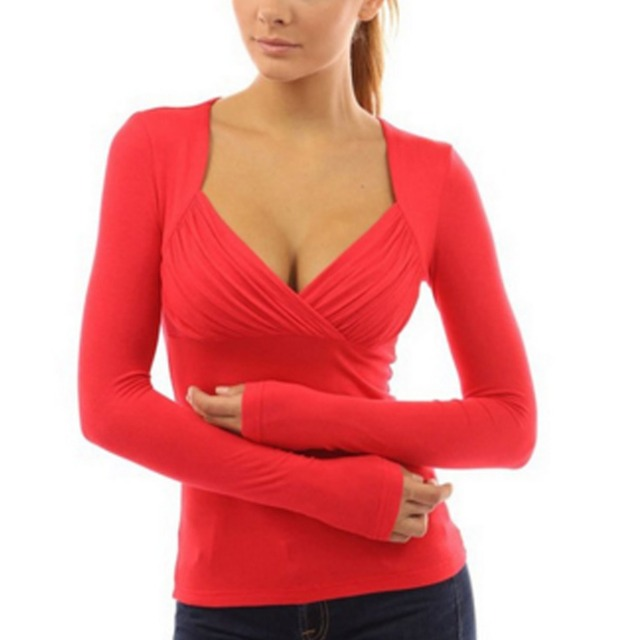 2016 de Las Mujeres Atractivas del V-cuello Básico de la Camisa Sólida de Manga Larga Equipada Tees Plus Size Tops