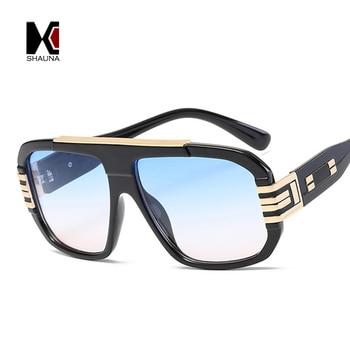 SHAUNA 9 colores Vintage estilo euroamericano gafas de sol cuadradas de mujer de marca de diseñador de moda para hombre gafas de gradiente azul
