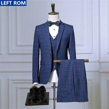 Men's Suits Jacket + Men Pants + Vest Hot Sale Fashion Business Men Trousers Waistcoat Coat Slim Wedding Banquet Clothing S-3XL