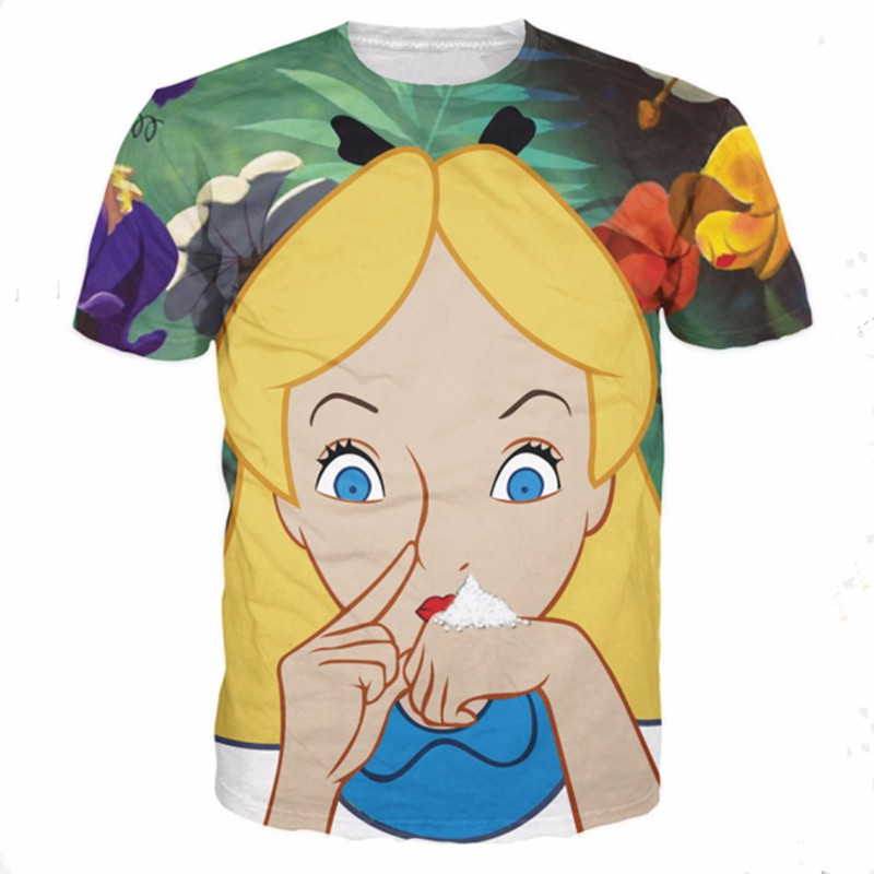 Alice In Cocaland T-Shirt Sick Sexy Naughty Vibrant Tee Casual O-neck Cotton Tops Fashion Clothing T Shirt For Women Men Tshirts