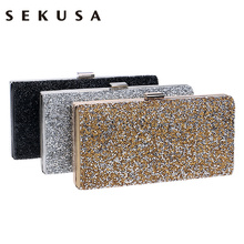 SEKUSA Woman Evening bag Women Diamond Rhinestone Clutch Crystal Chain Shoulder Small Purse Wedding Purse Party Evening Bags