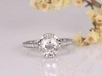 Pink Morganite Engagement Ring 14K Gold 7mm Round Cut Stone Diamond Band Bridal Wedding Ring Anniversary