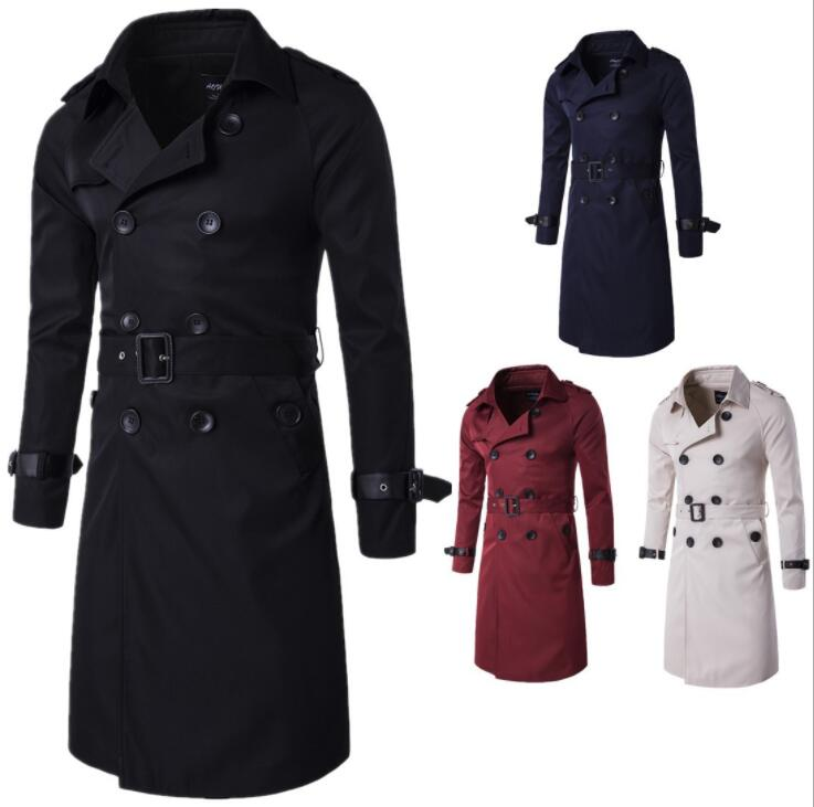 Mens   trench   coats man long coat men Double-breasted clothes slim fit overcoat long sleeve 2019 new designer spring autumn