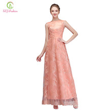 b30fed1048 SSYFashion nuevo vestido de noche de encaje banquete elegante Coral sin  mangas piso de longitud rebordear vestido de fiesta pers.