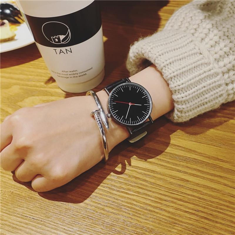 Minimalist Style Neutral Watches BGG Fashion Watch Men Women Quartz Clock Korean version Wild Dress Wristwatches Leather Band small dial brief style women watches korean version casual quartz woman clock bgg brand ladies retro wristwatches leather band