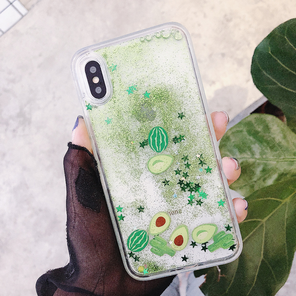 new concept a053c bafc4 US $3.29 |Vanuoxin Avocado Phone Case For Fundas iPhone X 6 6S 7 8 Plus  Cover Clear Liquid Glitter Soft side + Hard PC Animal Cover Coque-in Fitted  ...