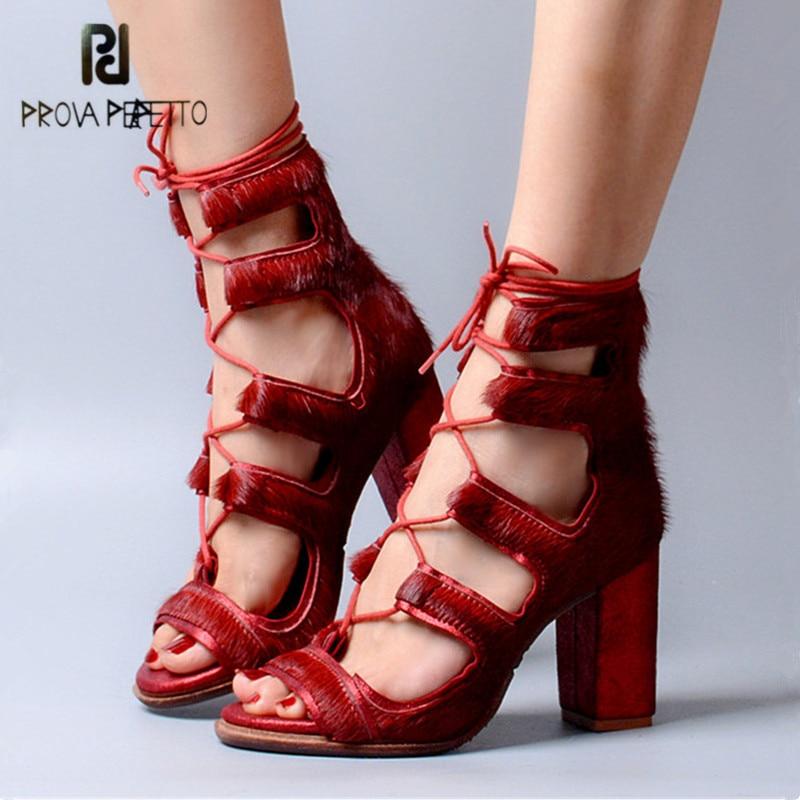 Prova Perfetto Fashion Horsehair Lace Up Peep Toe Women Sandals Sexy Chunky High Heels Hollow Out Gladiator Sandal Women Pumps недорго, оригинальная цена