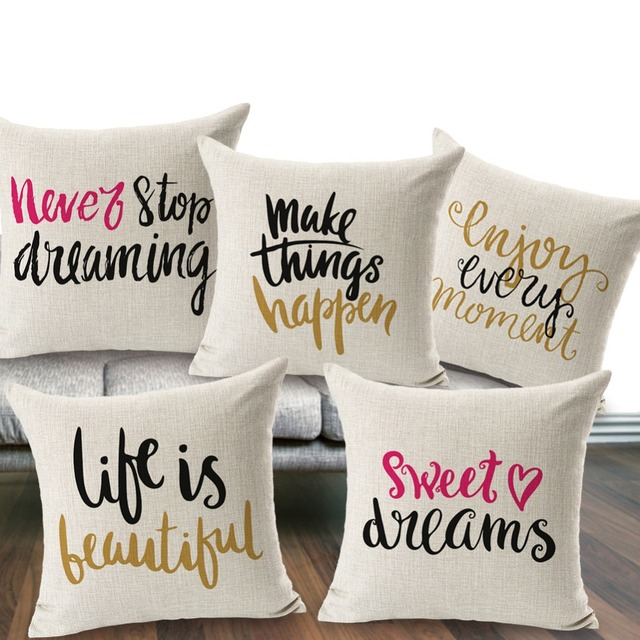 SewCrane Hand Lettering Phrases Sweet Home Sweet Dream Life Print Stunning Sweet Dreams Decorative Pillows