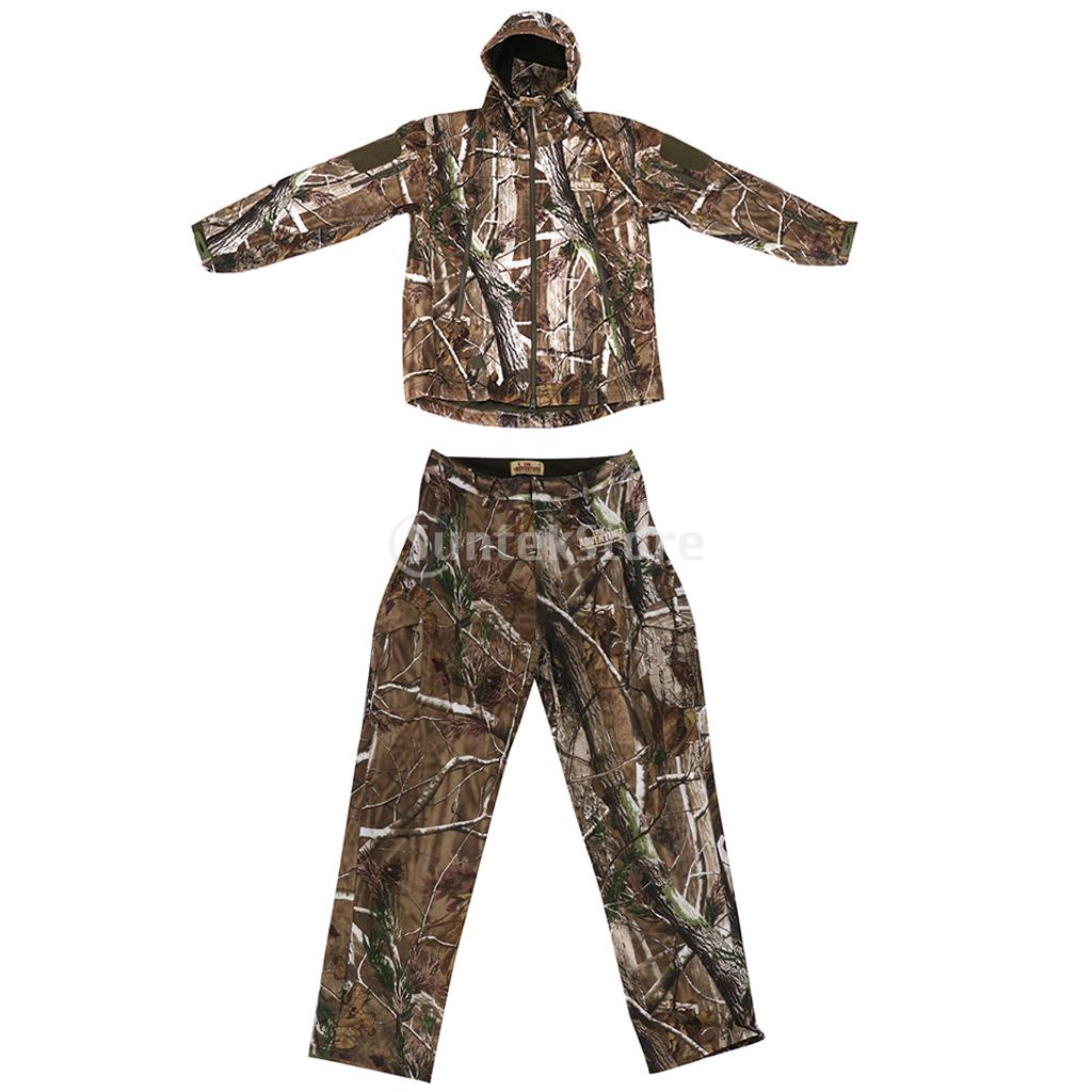 1 Set 3D Leaves Camo Hunting Hoodie Jacket Pants, Camouflage Suit Woodland size M - XXL цены онлайн