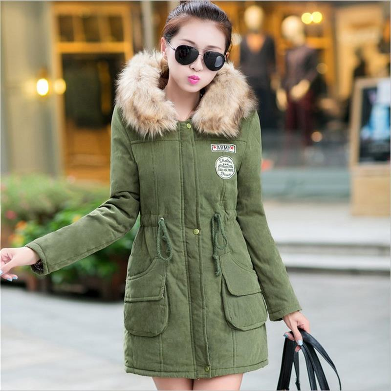 ФОТО The new 2016 autumn and winter Europe  United States new women's coat thickening Slim collar collar cotton women's long coat