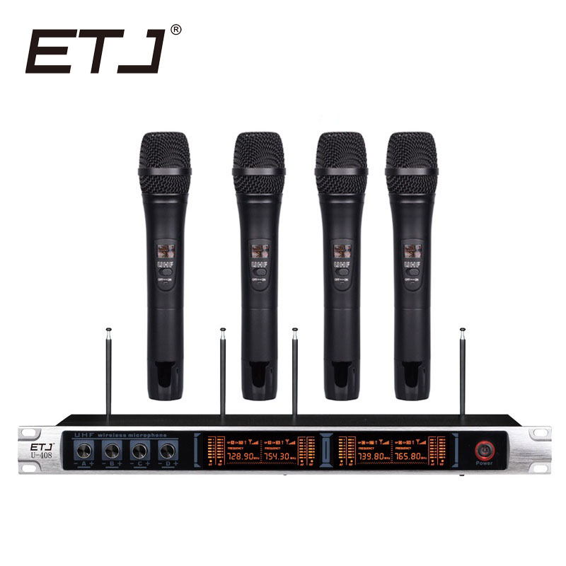 Free shipping Wireless Microphone System ETJ U408 Professional Microphone 4 Channel Dynamic 4 Headset Microphone + Karaoke free shipping etj u 203 wireless microphone with screen 50m distance 2 channel handheld mic system karaoke wireless microphone