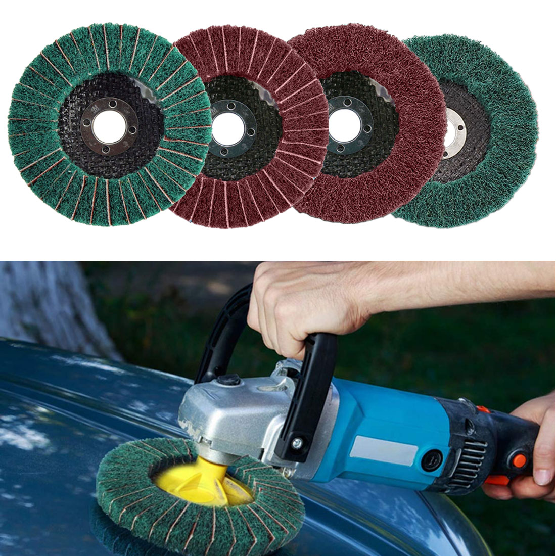 1pcs Nylon Abrasive Polishing Buffing Fiber Flap Wheel Disc Dia 100mm