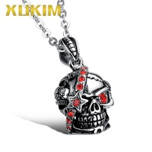 Xukim Jewelry 316L Stainless Steel Titanium One Red Eye Red Stones Crystals Skeleton Skull Pendant Necklace Punk Gothic Jewelry men s punk skull skeleton bracelet 316l stainless steel link wrist skulls gothic bracelets pulsera calavera jewelry gift