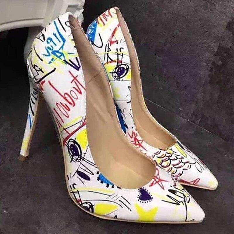 Grande Mélangées Black 10 white sur Chaude Designer blue Luxe Haute Sexy Pompes Parti Talons 5 Femmes Couleurs Hauts Chaussures 2019 Super 4 De Slip Taille OBxgOZz