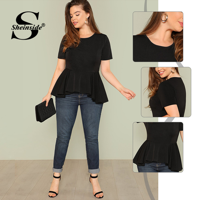 Sheinside Plus Size Ruffle Hem Womens Tops And Blouses 2019 Black Burgundy Stretch Solid Top Women Short Sleeve Summer Blouse 2