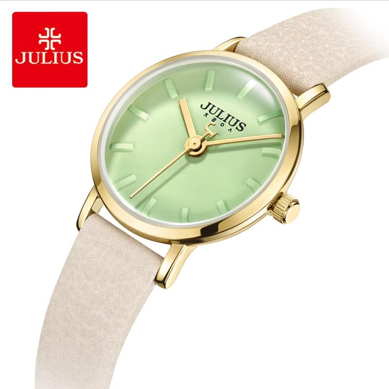 줄리어스 브랜드 여성 가죽 손목 시계 간단한 캔디 컬러 다이얼 방수 석영 드레스 시계 여성 시계 몬트 펨 선물