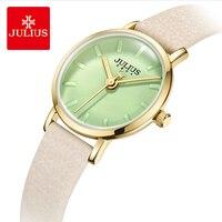Saatler'ten Kadın Saatleri'de Julius marka kadın deri saatı basit şeker renk arama su geçirmez kuvars elbise saatler kadın saat Montre Femme hediyeler