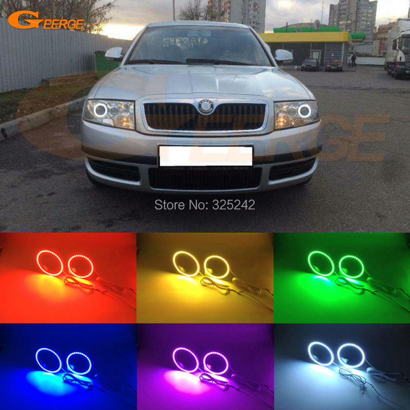 For skoda Superb 2001 2002 2003 2004 2005 2006 2007 Excellent Multi-Color Ultra bright RGB LED Angel Eyes kit Halo Ring for lexus lx470 2003 2004 2005 2006 2007 excellent multi color ultra bright rgb led angel eyes kit halo rings