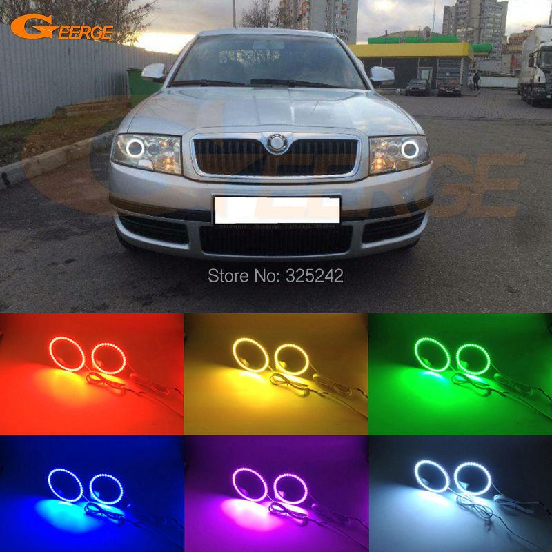 Для Шкода Суперб 2001 2002 2003 2004 2005 2006 2007 Мульти-Цвет Ультра яркие RGB светодиодные глаза Ангела комплект гало кольцо