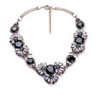High Quality Acrylic Resin Zinc Alloy Colares Femininos 2014 Women Crystal Round Black Faceted Maquise Chokers Necklace