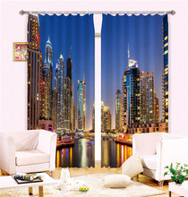 Modern Fashion City lights Printing 3D Blackout Curtains For Bedding room Living room Hotel Drapes Cortinas Para Sala