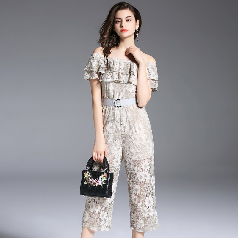 New Women Lace Strapless Pants Trousers Jumpsuit Bodycon Playsuit Women Clubwear Beach Party Romper Suit 2018 Sexy Lace Overalls 3