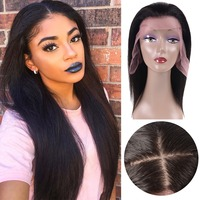 Lace Front Human Hair Wigs Straight Natural Color Brazilian Remy Hair Wigs For Black Women 130% Silk Base Top Lace Frontal Wig
