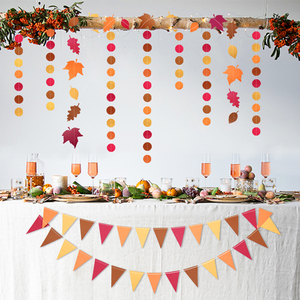 Image 2 - 4Meter Red Orange Yellow Autumn theme Leaves Garlands Dots Paper Banner Flags For Thanksgiving Wedding Party Decoration