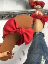 Casual Bowknot Peep Toe Flat Sandals Slippers  Summer Fashion sandals Cute shoes Red Yellow Bottom Free Ship