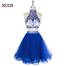 Vestido de Festa Short Halter Two Piece Homecoming Dresses Tulle Crystal Beaded Knee Length Prom Party Graduation Dress