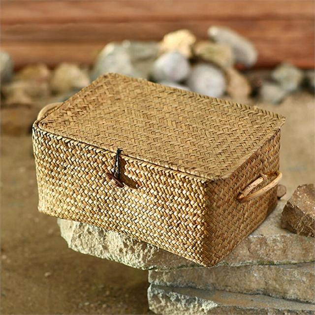 Woven Seagrass Storage Basket With Lid Natural Clothe Storage Basket Nordic Seagrass  Storage Baskets Sundries Basket