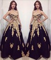 Gold Lace Applique Black Tulle Sweetheart Ball Gown Sexy Formal Evening Dresses Custom Made Floor Length