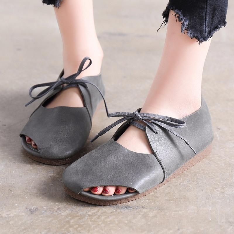 Qadın ayaqqabısı yay qadın təsadüfi düz sandalet krujeva - Qadın ayaqqabıları - Fotoqrafiya 4