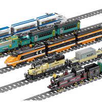 KAZI Technic Battery Powered Electric Classic City Train Rail Building Blocks Bricks Gift legoingly Toys For Children Boys Girls