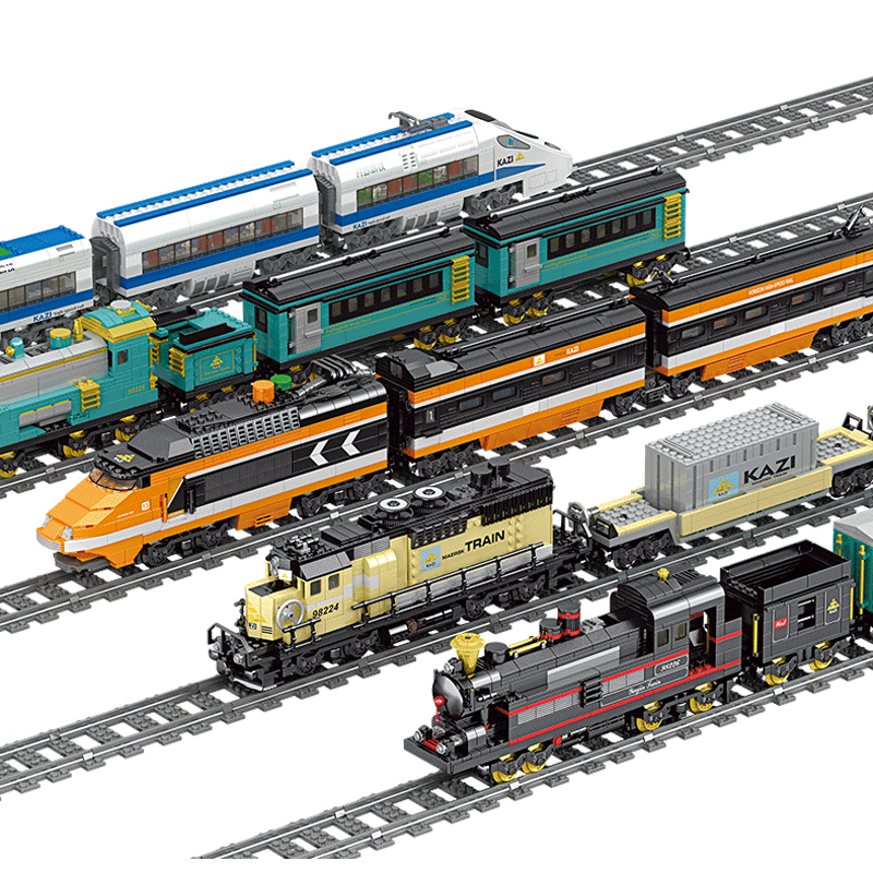 KAZI Technic Battery Powered Electric Classic legoing City Train Rail Building Blocks Bricks Gift Toys For Children Boys Girls
