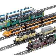 KAZI техника питание от электросети классический legoing городской поезд железнодорожный строительные блоки кирпичи подарок игрушки для детей мальчиков и девочек