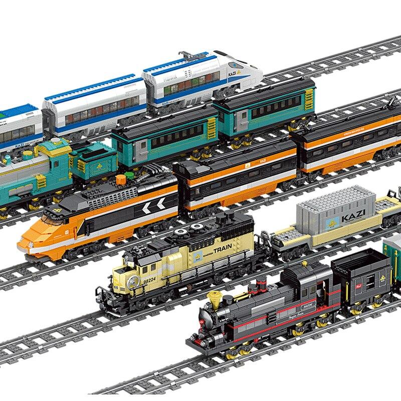KAZI Technic batterie alimenté électrique classique ville Train Rail blocs de construction briques cadeau jouets pour enfants garçons filles