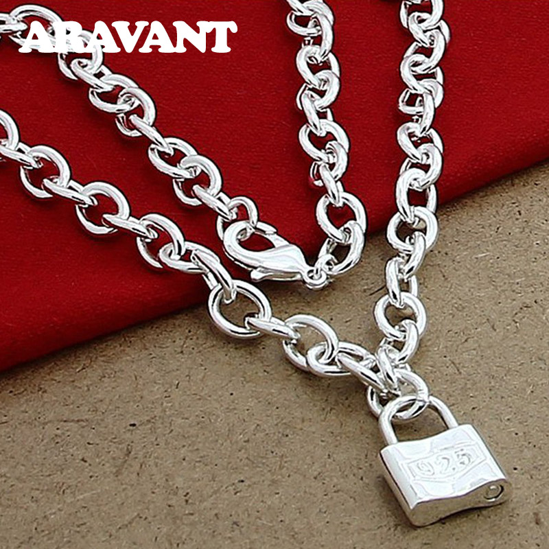 925 Silver Square Lock Pendant Necklaces Chain For Women Men Lover Silver Jewelry in Pendant Necklaces from Jewelry Accessories