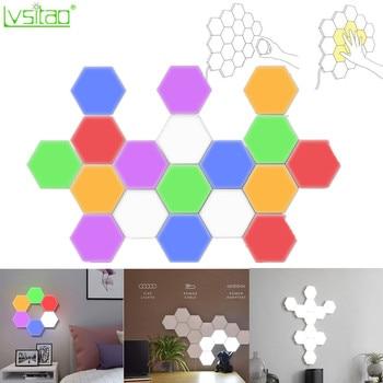 DIY Honeycomb LED Quantum Light modular touch sensitive lighting night light magnetic hexagons creative decoration wall lampara