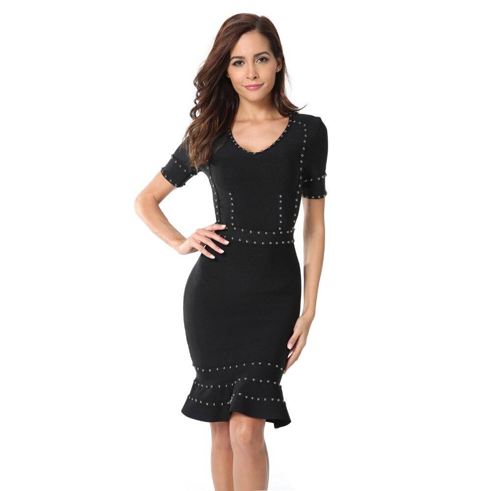 Summer 2018 Women Dresses Bodycon Sexy Club Knee Length Ladies Black Trumpet O Neck Celebrity Evening
