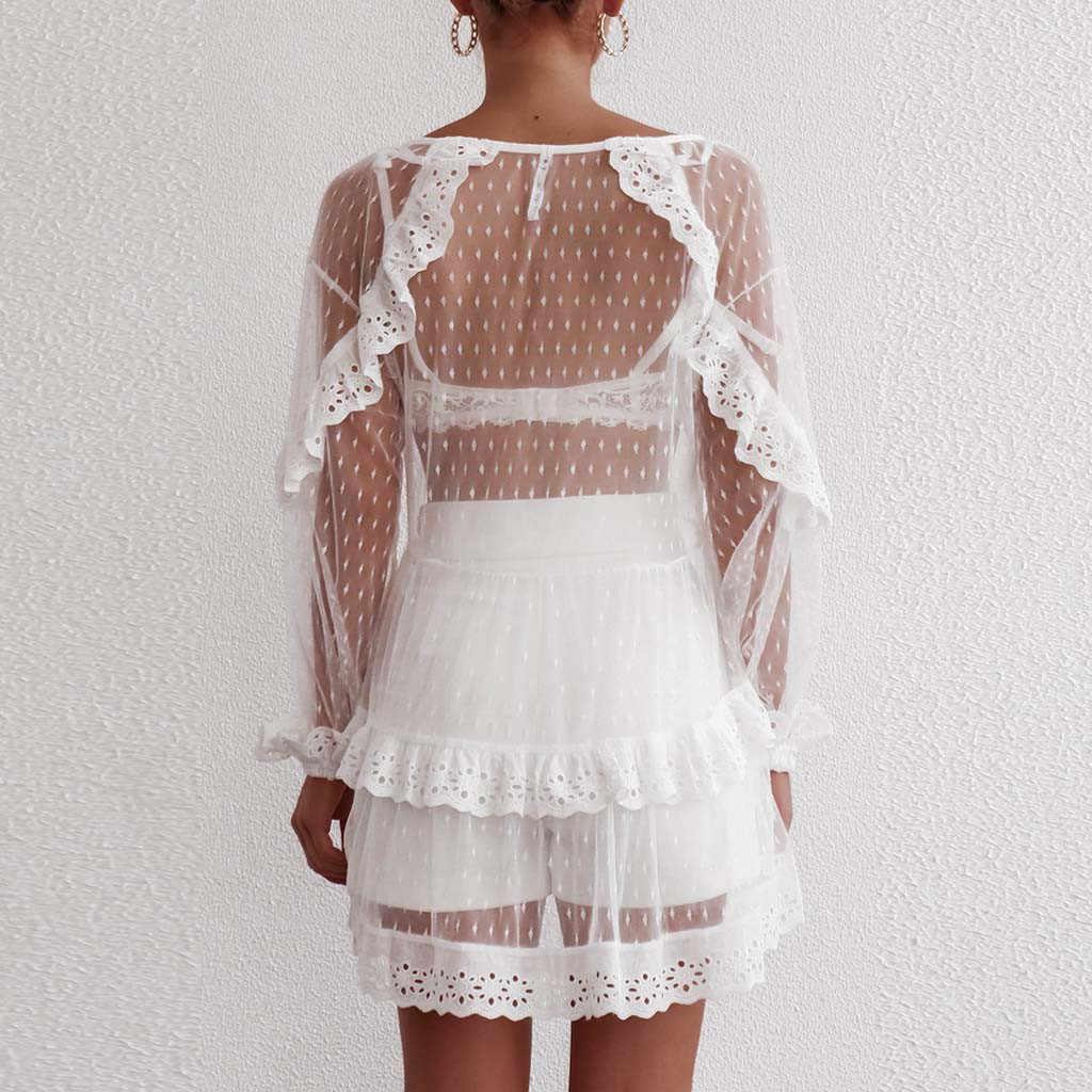 Robe d'été blanche femme dentelle manches longues Mini robe robes de princesse femme fête nuit robes de plage vestido de verano 2019