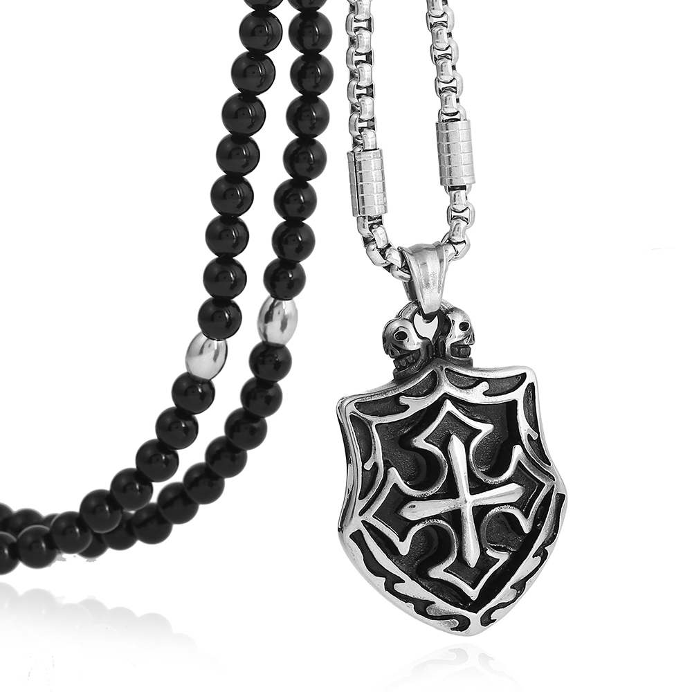 Men's 316L Stainless Steel Cross Knights Templar Shield Pendant Necklace with Black Natural Stone Chain 26 no 7 stylish 316l stainless steel hand skeleton pendant necklace black silver
