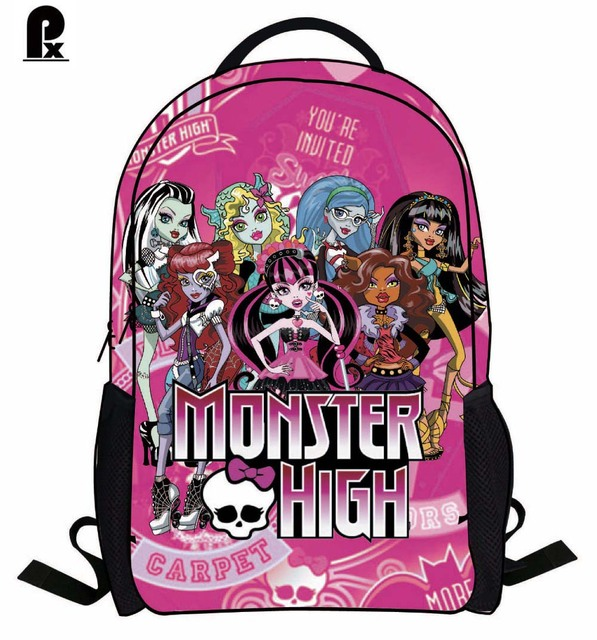 2016 new kids bag monster high Backpack orthopedic Children primary School Bags for boy Girls cartoon mochila infantil sac a dos