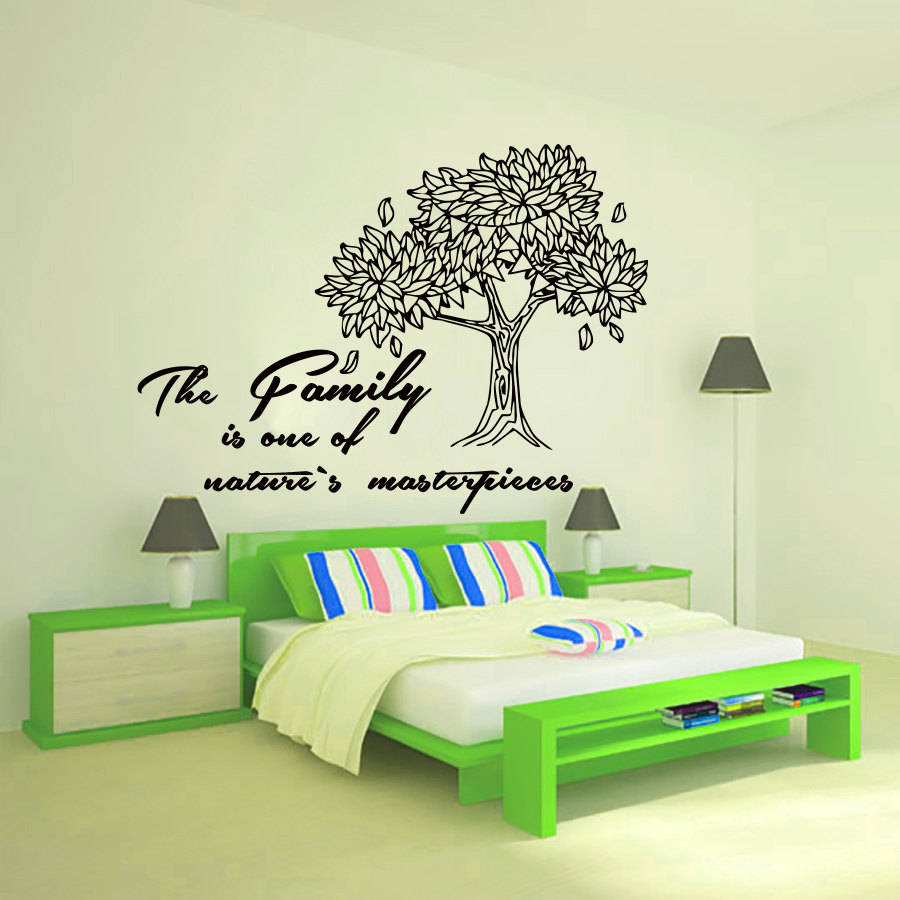 Bedroom wall art trees - Dctop The Family Is One Of Nature S Masterpieces Wall Art Sticker Home Decorative Vinyl Tree Wall Decals For Bedroom