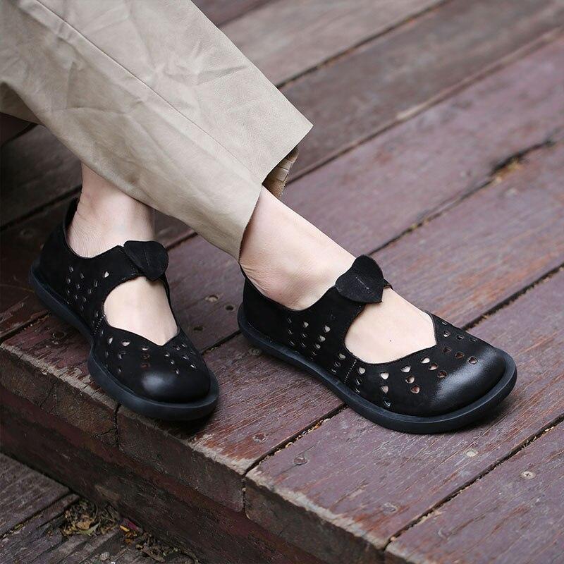 2019 VALLU Lederen Schoenen Vrouwen Flats Ronde Tenen Natuurlijke Suede Hollow Out Handgemaakte Casual Schoenen Vrouw Loafers-in Platte damesschoenen van Schoenen op  Groep 1