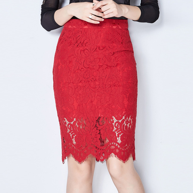 e74c8aee430f Nero Rosso Pizzo Saias 2016 primavera autunno moda gonne midi matita gonne  delle donne inverno jupe