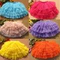 2015 muchachas del verano de bola esponjosa princesa niños de la falda del bebé del tutú de tul en capas partido faldas