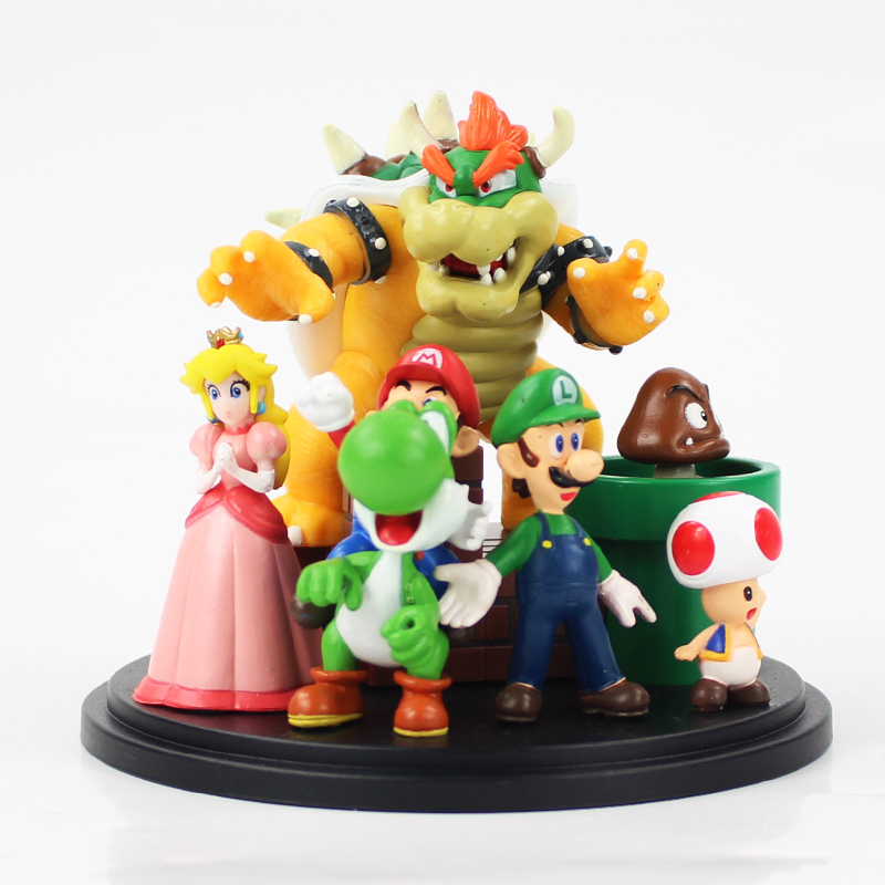 7pcs/lot 10cm Super Mario Bros Bowser Princess Peach Yoshi Luigi Toad Goomba PVC Action Figure Model Doll Collection Kids Toy